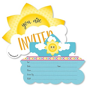 You Are My Sunshine - Shaped Fill-In Invitations - Baby Shower or Birthday Party Invitation Cards with Envelopes - Set of 12