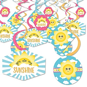 You Are My Sunshine - Baby Shower or Birthday Party Hanging Decor - Party Decoration Swirls - Set of 40