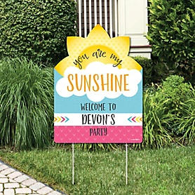 You Are My Sunshine - Party Decorations - Birthday Party or Baby Shower Personalized Welcome Yard Sign