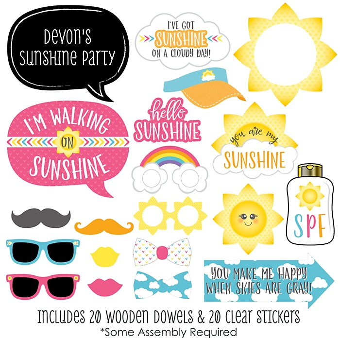 You Are My Sunshine - 20 Piece Photo Booth Props Kit