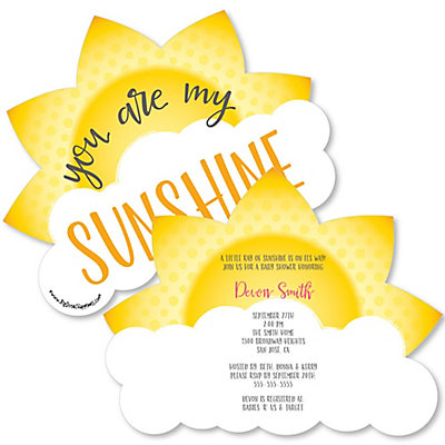 You Are My Sunshine   Shaped Baby Shower Invitations | BigDotOfHappiness.com