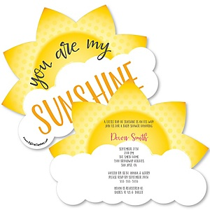 You Are My Sunshine - Shaped Baby Shower Invitations - Set of 12