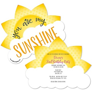You Are My Sunshine - Shaped Birthday Party Invitations - Set of 12