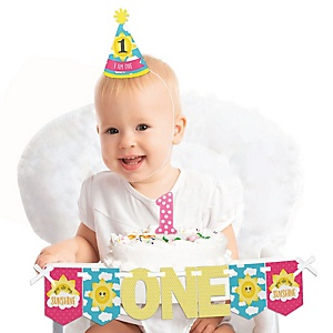 You Are My Sunshine 1st Birthday - First Birthday Girl Smash Cake Decorating Kit - High Chair Decorations