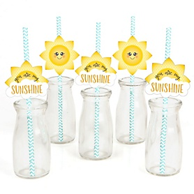 You Are My Sunshine - Paper Straw Decor - Baby Shower or Birthday Party Striped Decorative Straws - Set of 24