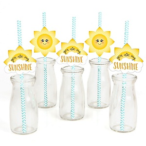 You Are My Sunshine Paper Straw Decor Baby Shower Or Birthday Party Striped Decorative Straws Set Of 24