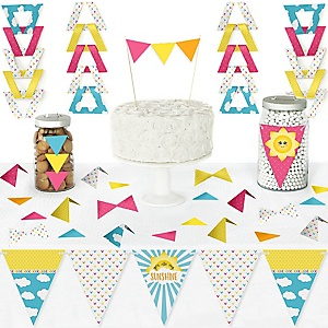 You Are My Sunshine - DIY Pennant Banner Decorations - Baby Shower or Birthday Party Triangle Kit - 99 Pieces