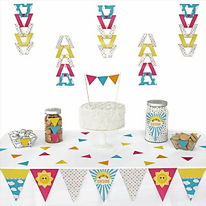 You Are My Sunshine -  Triangle Baby Shower or Birthday Party Decoration Kit - 72 Piece