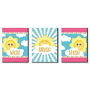 You Are My Sunshine - Kids Bathroom Rules Wall Art - 7.5 x 10 inches - Set of 3 Signs - Wash, Brush, Flush