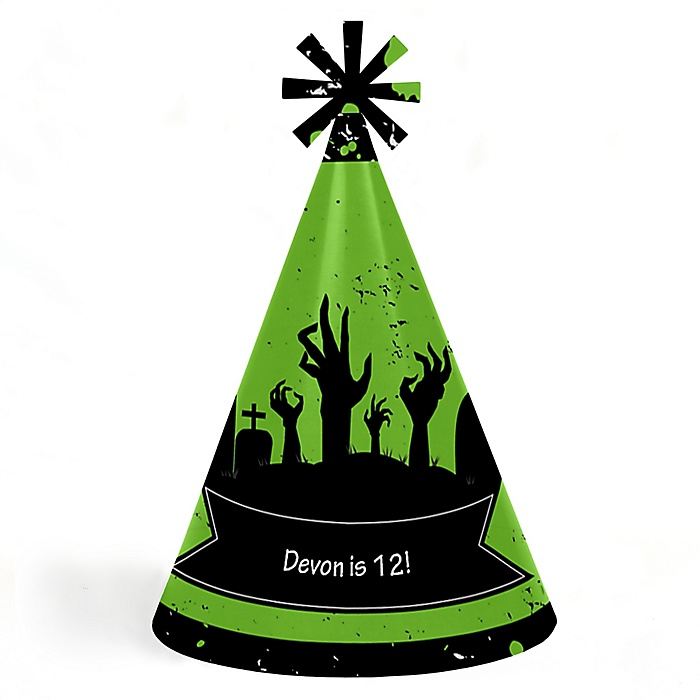 Zombie Zone - Personalized Cone Happy Birthday Zombie Crawl Party Hats for Kids and Adults - Set of 8 (Standard Size)