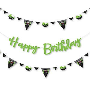 Zombie Zone - Birthday Zombie Crawl Party Letter Banner Decoration - 36 Banner Cutouts and Happy Birthday Banner Letters