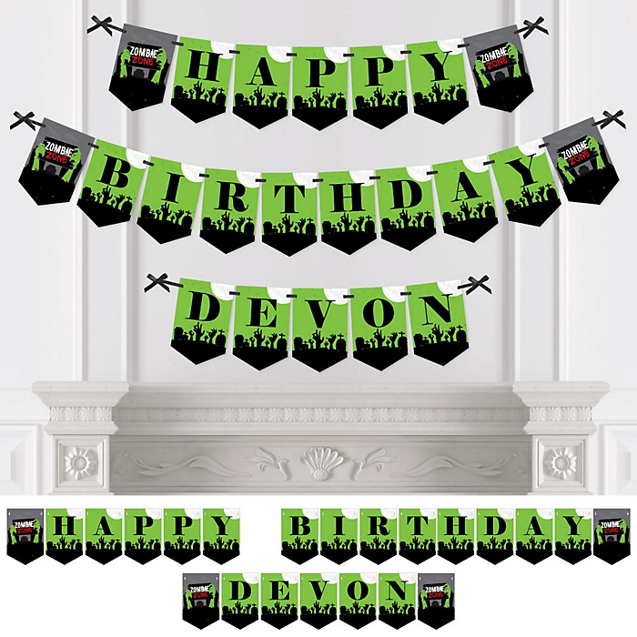 Zombie Zone - Personalized Birthday Zombie Crawl Party Bunting Banner & Decorations