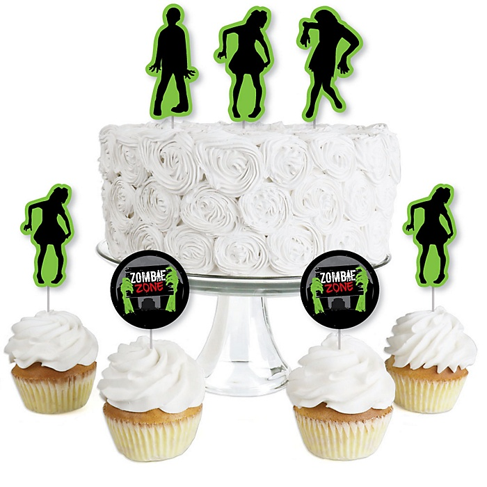Zombie Zone - Dessert Cupcake Toppers - Halloween or Birthday Zombie Crawl Party Clear Treat Picks - Set of 24