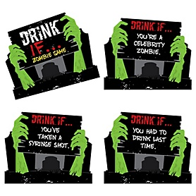 Drink If Game - Zombie Zone - Halloween or Birthday Zombie Crawl Party Game - 24 Count