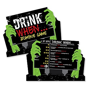 Zombie Zone - Drink When Party Game Cards - Drinking Game - 20 cards