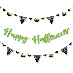Zombie Zone - Halloween Zombie Crawl Party Letter Banner Decoration - 36 Banner Cutouts and Happy Halloween Banner Letters