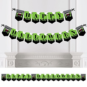 Zombie Zone - Personalized Halloween Zombie Crawl Party Bunting Banner & Decorations