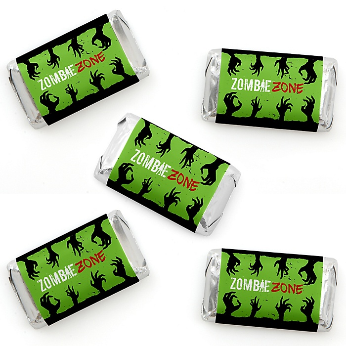 Zombie Zone - Mini Candy Bar Wrapper Stickers - Halloween or Birthday Zombie Crawl Party Small Favors - 40 Count