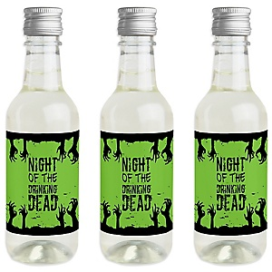 Zombie Zone - Mini Wine and Champagne Bottle Label Stickers - Halloween Zombie Crawl Party Favor Gift - For Women and Men - Set of 16