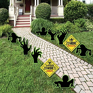 Zombie Zone - Sign and Zombie Hand Lawn Decorations - Outdoor Halloween or Birthday Zombie Crawl Party Yard Decorations - 10 Piece