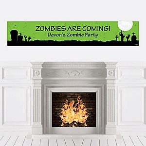 Zombie Zone - Personalized Halloween or Birthday Zombie Crawl Party Party Banner