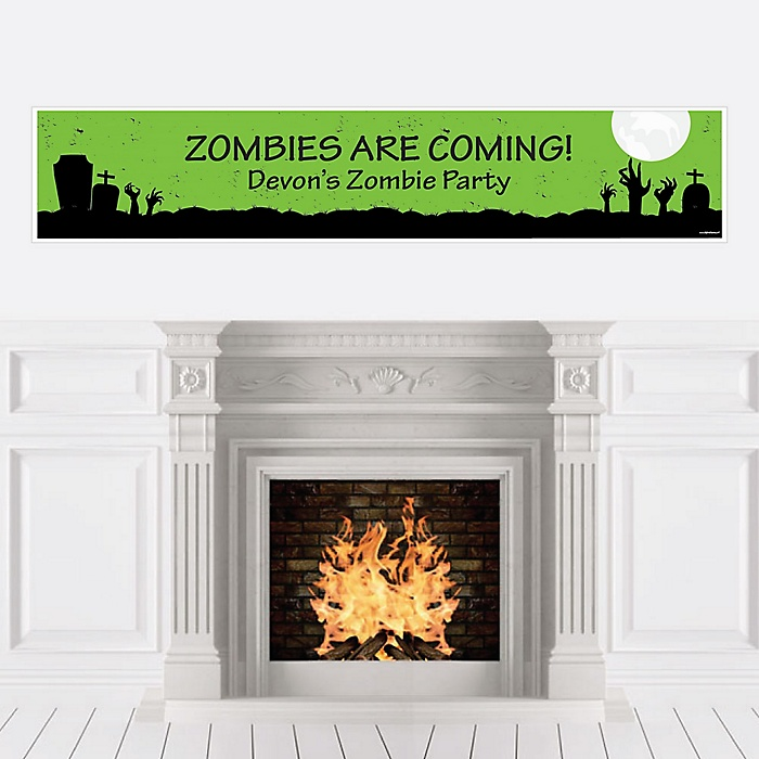 Zombie Zone - Personalized Halloween or Birthday Zombie Crawl Party Banner