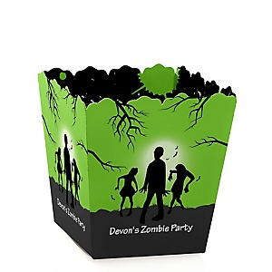 Zombie Zone - Party Mini Favor Boxes - Personalized Halloween or Birthday Zombie Crawl Party Party Treat Candy Boxes - Set of 12