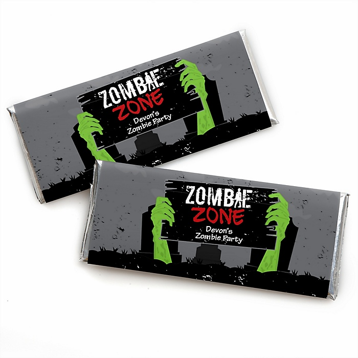 Zombie Zone - Personalized Candy Bar Wrapper Halloween or Birthday Zombie Crawl Party Favors - Set of 24