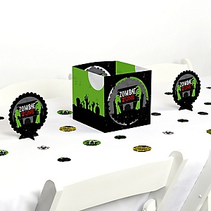 Zombie Zone - Halloween or Birthday Zombie Crawl Party Centerpiece and Table Decoration Kit