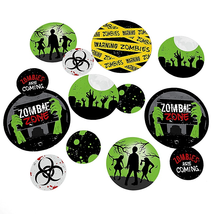 Zombie Zone - Halloween or Birthday Zombie Crawl Party Giant Circle Confetti - Zombie Zone Decorations - Large Confetti 27 Count