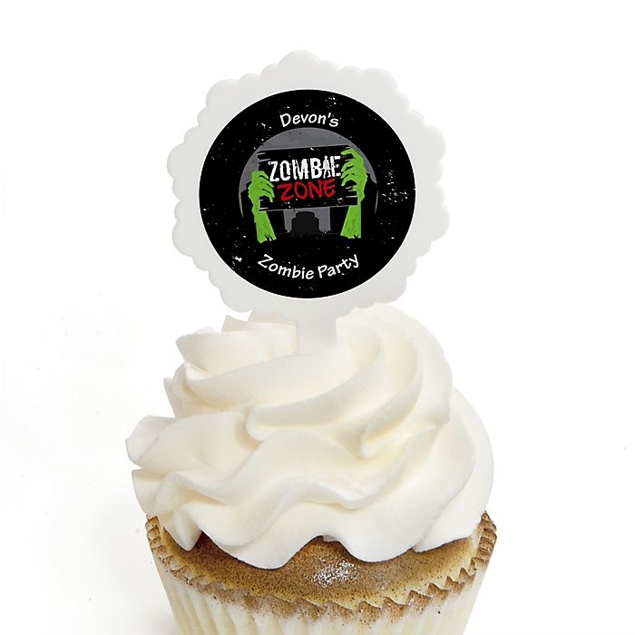 Zombie Zone - Cupcake Picks with Personalized Stickers - Halloween or Birthday Zombie Crawl Party Cupcake Toppers - 12 ct