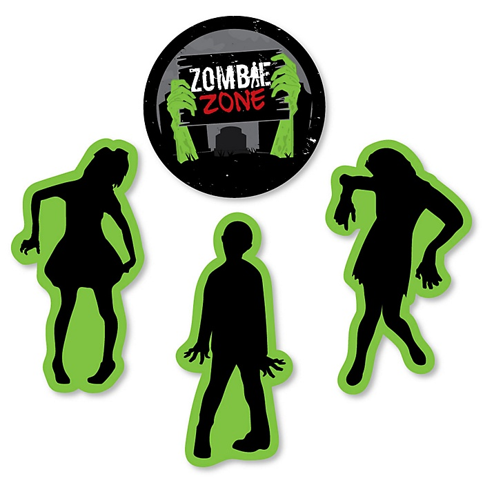 Zombie Zone - DIY Shaped Halloween or Birthday Zombie Crawl Party Paper Cut-Outs - 24 Ct.