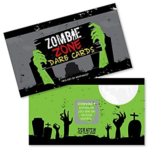 Zombie Zone - Halloween or Birthday Zombie Crawl Party Game Scratch Off Dare Cards - 22 Count