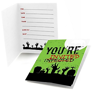 Zombie Zone - Fill In Halloween or Birthday Zombie Crawl Party Party Invitations - 8 ct
