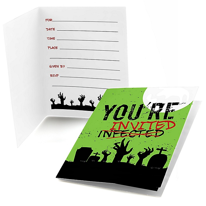 Zombie Zone - Fill In Halloween or Birthday Zombie Crawl Party Invitations - 8 ct