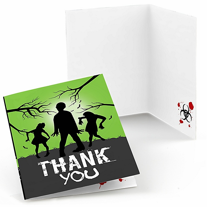 Zombie Zone - Halloween or Birthday Zombie Crawl Party Thank You Cards - 8 ct