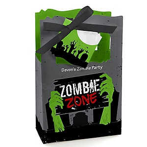 Zombie Zone - Halloween or Birthday Zombie Crawl Party Gift Favor Boxes - Set of 12