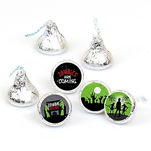 Zombie Zone - Round Candy Labels Halloween or Birthday Zombie Crawl Party Favors - Fits Hershey Kisses - 108 ct