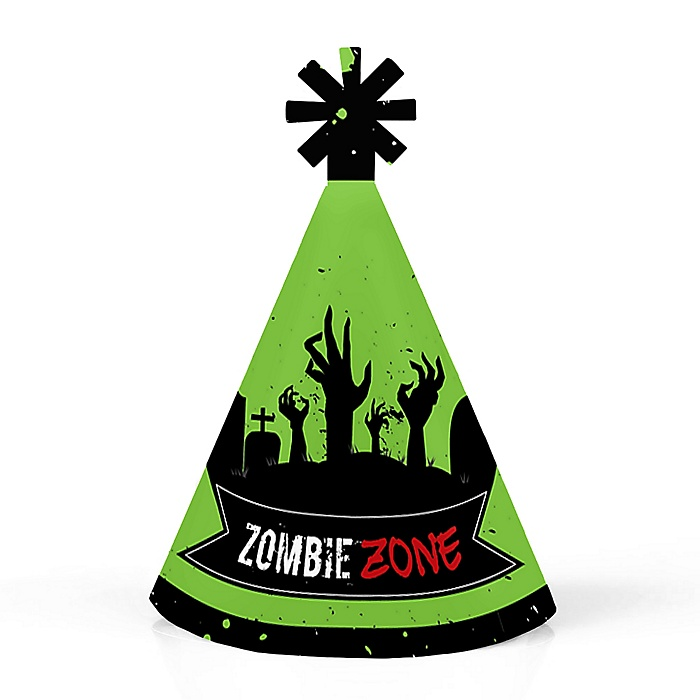 Zombie Zone - Personalized Mini Cone Halloween or Birthday Zombie Crawl Party Hats - Small Little Party Hats - Set of 10