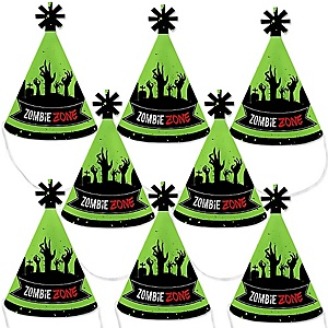 Zombie Zone - Mini Cone Halloween or Birthday Zombie Crawl Party Hats - Small Little Party Hats - Set of 8