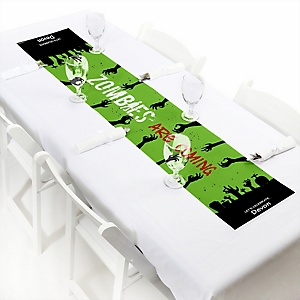 "Zombie Zone - Personalized Petite Halloween or Birthday Zombie Crawl Party Paper Table Runner - 12"" x 60"""