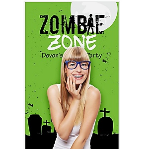 """Zombie Zone - Halloween or Birthday Zombie Crawl Party Party Photo Booth Backdrops - 36"""" x 60"""""""