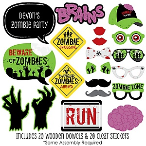 Zombie Zone - 20 Piece Halloween or Birthday Zombie Crawl Party Photo Booth Props Kit