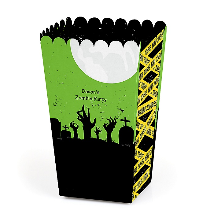 Zombie Zone - Personalized Halloween or Birthday Zombie Crawl Party Popcorn Favor Treat Boxes - Set of 12