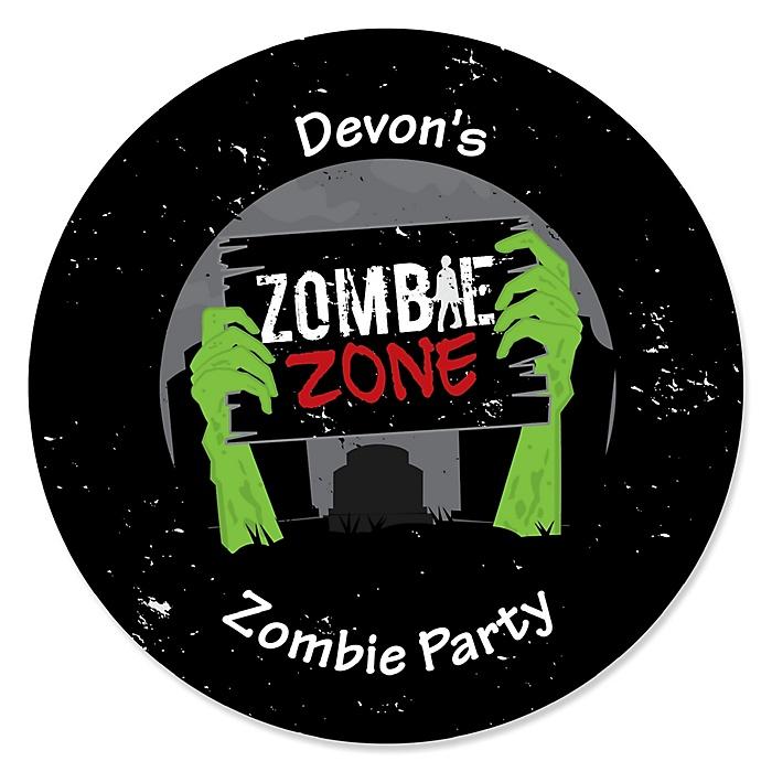 Zombie Zone - Personalized Halloween or Birthday Zombie Crawl Party Sticker Labels - 24 ct