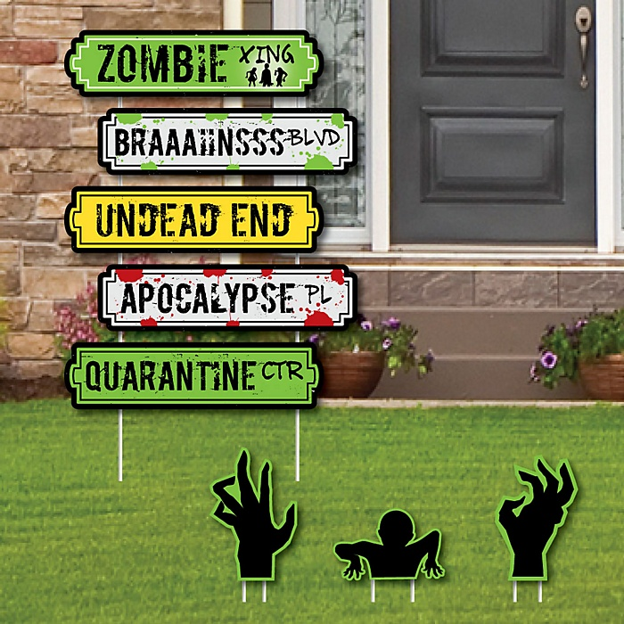 Zombie Zone Street Sign Cutouts - Halloween or Birthday Zombie Crawl Party Yard Signs & Decorations - Set of 8