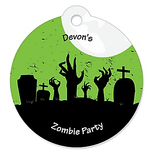 Zombie Zone - 20 Round Halloween or Birthday Zombie Crawl Party Gift Tags