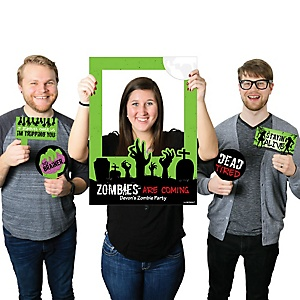 Zombie Zone - Personalized Halloween or Birthday Zombie Crawl Party Selfie Photo Booth Picture Frame & Props - Printed on Sturdy Material