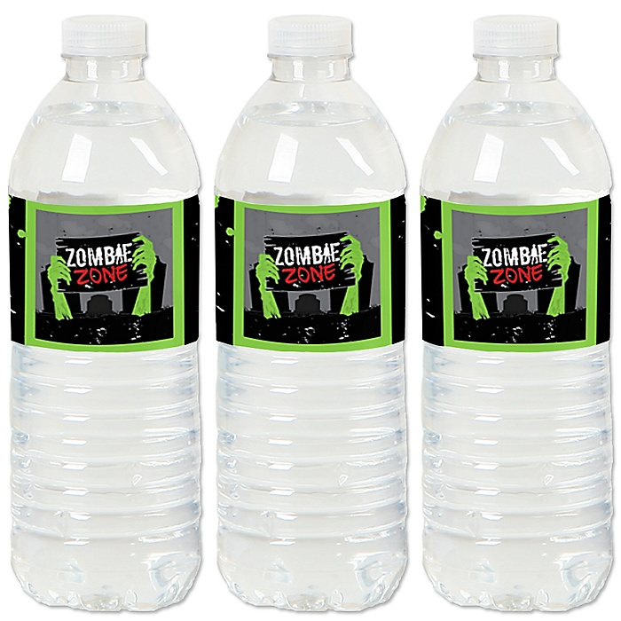 Zombie Zone - Halloween or Birthday Zombie Crawl Party Water Bottle Sticker Labels - Set of 20