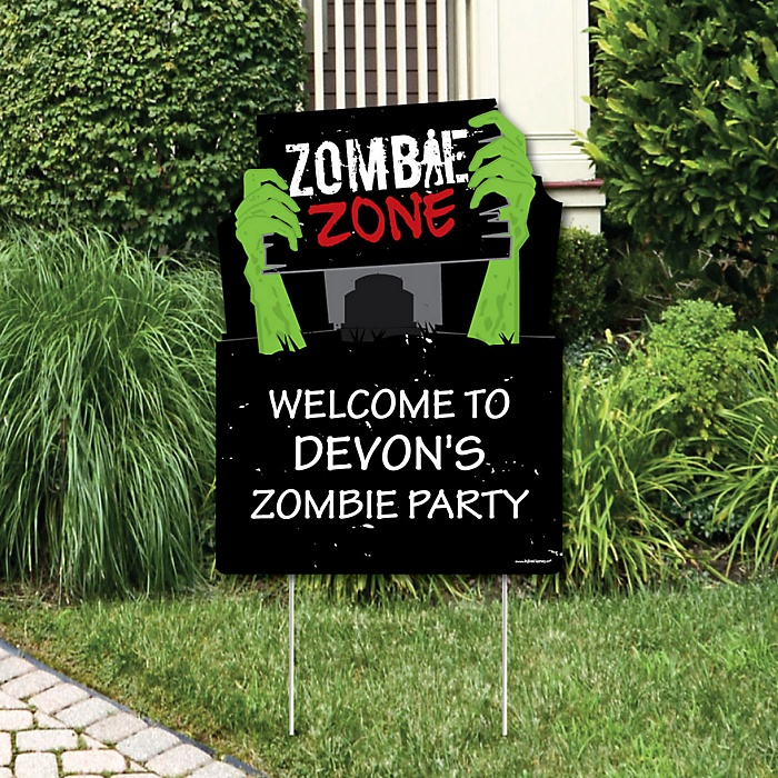 Zombie Zone - Party Decorations - Halloween or Birthday Zombie Crawl Party Personalized Welcome Yard Sign